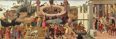Viaje de vuelta. De izquierda a derecha: Llegada de Jasón a la corte de Eetes, prueba de los toros, salida de la expedición de los hijos de Eetes en persecución de Jasón y Medea