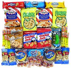 Cookies Chips  Candies Variety Pack Bundle Assortment Includes Funyuns Moon Pies Pickle Ina Pouch Potato Skins Cracker Jacks  More Box of 50 Items ** Want additional info? Click on the image.