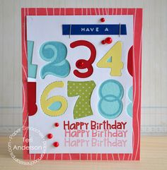 Card by PS DT Teri Anderson using the PS Digits and Numbers stamp sets and dies