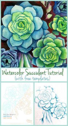 DIY Watercolor Succulents