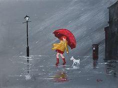 Red Umbrella Post with Radley Original Oil Acrylic Painting Canvas Jim Gillon | eBay