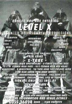 Level X : Saturday, 22 October 1994 Those Were The Days, Flyers, Sydney, Rave, October, Raves, Ruffles, Leaflets, Rave Music
