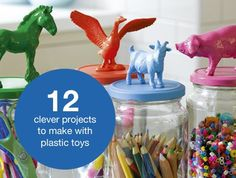 Awesome ideas for those cute plastic toys at Michael's and toy stores. Find somebody's favorite animal and make it their own. Maybe put words on the jar, a quote or maybe their name. >>For ANYONE (Guys = Girls)