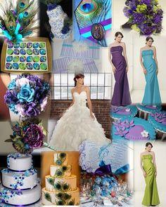 Purple, peacock, blue