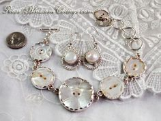mother of pearl button bracelet.