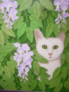 "Jean-Jacques Giraud - ""Cat in wisteria"" - Oil on canvas"