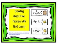 This is the same set of puzzles as my other product.  The only difference is that these puzzles have the written word on the picture piece as a visual cue for younger learners, ELL and SPED students.  This packet includes:110 word family puzzles with picture perfect for teaching blending of onsets and rimes.