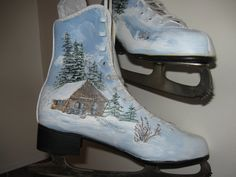 Hand-painted Upcycled Canadian Ice Skates by HandmadesbyJ on Etsy