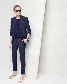 J.Crew women's Campbell blazer, tiered crepe top, Paley pant, Sam sunglasses and leather cross-strap flat sandals.