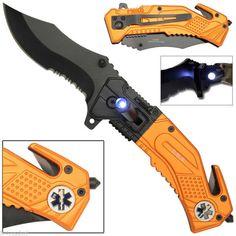 EMT Spring Assisted Opening LED Light Tactical Rescue Folding Pocket Knife
