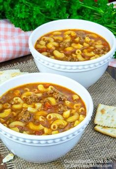 This Beef and Tomato Macaroni Soup recipe combines tasty tomato, ground beef and pasta to create a delicious, hearty soup that your family will love!