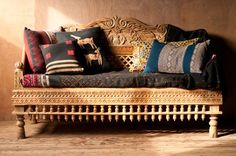 Carved Whitewashed Indian Daybed Perfect for daydreaming and journaling, this sturdy carved whitewashed Indian daybed will make you feel like royalty. Painstakingly hand carved with ample room to lounge, this bed has a shabby chic ap Indian Furniture, Unique Furniture, Furniture Design, Sofa Design, Interior Design, India Decor, Indian Interiors, Ethnic Decor, Indian Living Rooms