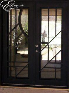 Home Design Ideas Door And Window Design, Home Door Design, Dining Room Console, Contemporary Doors, Wrought Iron Doors, Double Curtains, Bedroom Floor Plans, Entry Doors, Front Doors