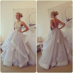 Ball Gown Backless Charming Prom Dress,Prom Dress,Tulle Prom Dress,Lace Prom Dresses,Evening Dress Z521