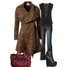 Untitled #82. Fall Outfit. Screamq. Jeans. Black T-shirt. Animal print coat.