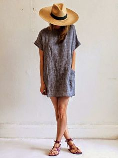 T-shirt #dress and #panamahat. Perfect casual wear for #summer.