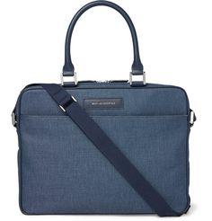 Haneda 15 Leather-Trimmed Canvas Briefcase   MR PORTER