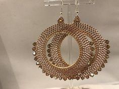 Rose gold and topaz beaded crystal hoop earrings