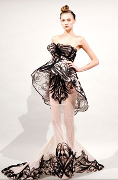 Marchesa black ribbon filagree & cream gown - Spring 2011 collection