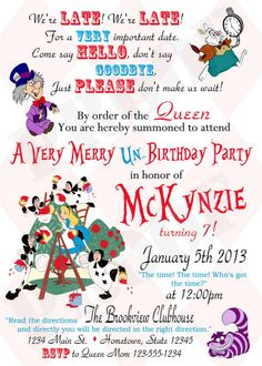 Personalized Photo Invitations | Cmartistry : Personalized Alice in Wonderland Un Birthday Party Invitations - DIY Printable