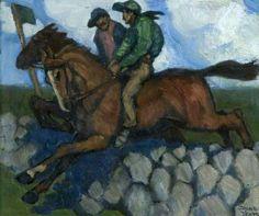 Untitled (Two Jockeys on Horses, Leaping a Stone Wall) by Jack B Yeats Ulster Museum Leeds Art Gallery, Aberdeen Art Gallery, Gallery Of Modern Art, Wall Art Uk, Wall Jack, Irish Painters, Jack B, Irish Culture, Irish Art