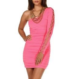 Single Lattice Sleeve Dress