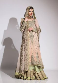 Luxurious and Heavy Embellishment Bridal Dress with Sharara Pakistani Bridal Dresses Fahad Hussayn Bridal Sharara Collection Saudi Arabi Jeddah Dammam Pakistani Couture, Pakistani Wedding Dresses, Pakistani Outfits, Indian Dresses, Indian Outfits, Nikkah Dress, Western Dresses, Maxi Outfits, Bridal Outfits