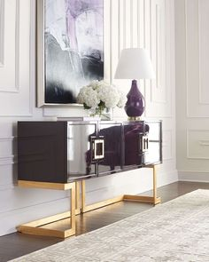 Dazzling black and golden buffet . The natural choice to get surprising living rooms | Discover more contemporary cabinets: http://buffetsandcabinets.com/