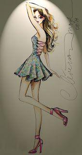 DESENHOS DE MODA: Desenhos de moda - Vestido leve para o verão.