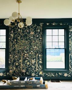 """Jessica Helgerson on Instagram: """"Ladders and construction paper on the floor, dumpster out the window... who cares with that wallpaper!!? William Morris was an artistic…"""""""