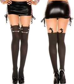 Color: Black Sizes: One Size Material: nylon Give the illusion of wearing thigh highs & show them the devil in disguise in these gr Stockings Outfit, Garters And Stockings, Tights Outfit, Cool Tights, Fishnet Tights, Nylons, Thigh High Socks, Thigh Highs, Short Mini Dress