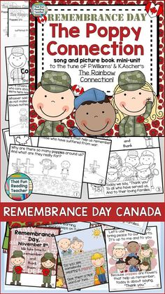 FREE Canadian Remembrance Day Song, Storybook Unit - character education song (to the tune of The Rainbow Connection) ideal to prepare for an assembly, color picture book, black and white student copy, no prep printables Remembrance Day Activities, Remembrance Day Art, Veterans Day Songs, Teaching Kindergarten, Teaching Ideas, Teaching Resources, Anzac Day, Rainbow Connection, Thing 1