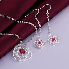 klassiske hule ud blomst smykker sæt (halskæde + øreringe) (1 sæt) – DKK kr. 68