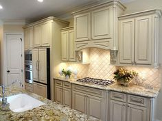 Another view of this beautiful kitchen. Refrigerator with matching cabinet panels in included! Exterior Design, Interior And Exterior, Antique White Cabinets, Kitchen Refrigerator, Nottingham, Home Staging, Beautiful Kitchens, Houston, Kitchen Ideas