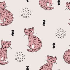 Funky kitty #print #spoonflower #fabric #panther #cat #fashion #kidsfashion #interior #home #littlesmilemakers #illustration #wallpaper