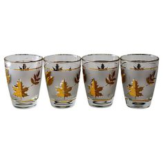 Gold Leaf Lowball Glasses, S/4 from RareandWorthy - Hunters Alley