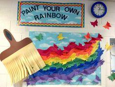 Preschool bulletin board.  The children's names are on the butterflies!