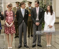 Princess Tessy, Prince Louis, Prince Felix, and Princess Alexandra of Luxembourg arrive at the Notre Dame Cathedral as part of the Luxembourg National Day celebrations on June 23, 2007 in Luxembourg.