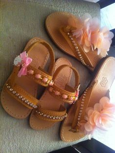 Handmade mother & daughter sandals!!!!