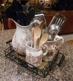 Pretty Ways to Store Cooking Utensils (yes, using transferware!) - Pretty Ways to Store Cooking Utensils (yes, using transferware! Vintage Dishes, Vintage China, Vintage Kitchen, Antique China, Cooking Utensils, Kitchen Utensils, Cooking Tools, Kitchen Tools, Cooking Gadgets