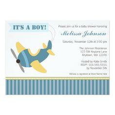 Aeroplane Stripes Boy Baby Shower Invitations
