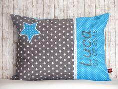 """Namenskissen - Namenskissen """"Kleiner Stern"""" aqua inkl.1.Name - ein Designerstück von Julies-Place bei DaWanda"""