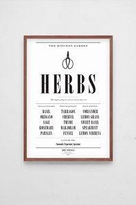 The Herbs, svart/vit typografisk affisch från Dry Things. Kommer fint förpackad i ett svart papprör. Finns även att köpa som 5-pack, The Poster Box, med affischerna: Herbs, Lentil Soup, Wine, Oyster och Beef Chart. Ram ingår ej.