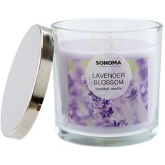 SONOMA Goods for Life™ Lavender Blossom 14-oz. Candle Jar ($9.99) ❤ liked on Polyvore featuring home, home decor, candles & candleholders, multicolor, lilac scented candles, flower scented candles, colored jars, colored candles and three wick scented candles