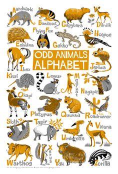 "Odd Animals Alphabet Poster. Limited edition digital print 13"" x 19"" by kenguroo on Etsy https://www.etsy.com/listing/189739777/odd-animals-alphabet-poster-limited"