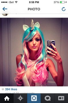 Wig, makeup. Unicorn costume