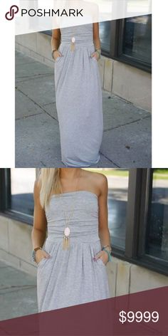 86af60e074 Gray Tube Maxi Dress Chic gray tube maxi dress featuring side pockets.