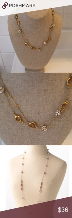 """🎉Host Pick 🎉 Stella &a Dot Annabelle necklace In exceptional condition!! Delicate rose gold necklace with handset pave balls alternating with channel set smokey glass stones and glass pearls, can be worn long or short.  Make the look yours by layering it with other necklaces. Measures approximately 38"""" in length.  Lobster clasp closure. Can be worn long or doubled. Lead & nickel safe. Used as a trunk show sample. In excellent condition. Stella & Dot Jewelry Necklaces"""