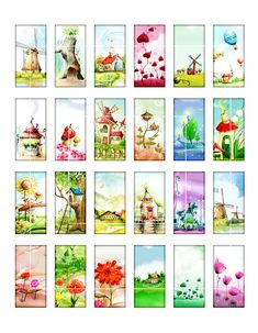 Whimsical Fairyland Collage Sheet Domino by MobyCatGraphics