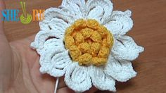 Crochet Flower with Ruffled Center and 10 Petals How-To Tutorial 31